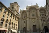 About Granada: Granada's cathedral as seen from Plaza Pasiegas