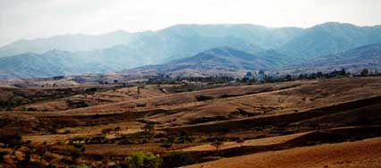 View of the hills in the south of the valley of Oaxaca