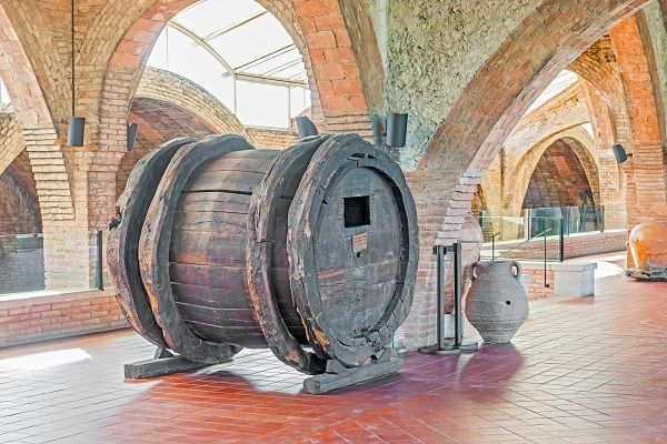 17th century wine barrel in the entrance hall of Codorníu