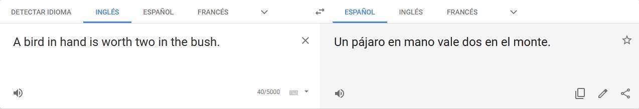 errores de google translate en español con refranes