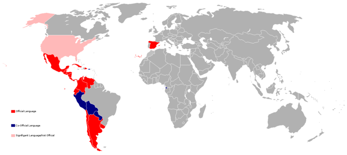Spanish language map