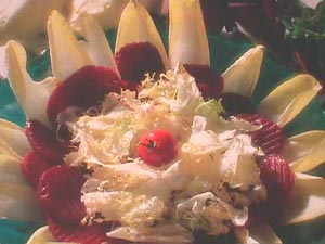 Endive, chicory and beetroot salad