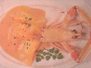 Crayfish ravioli with foie gras sauce