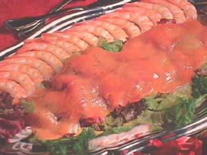 King prawn salad with smoked salmon