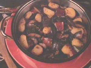 Aubergine with potato and peppers
