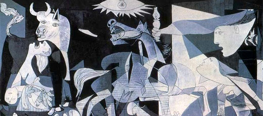 El guernica by pablo picasso spanish paintings don quijote for Mural guernica