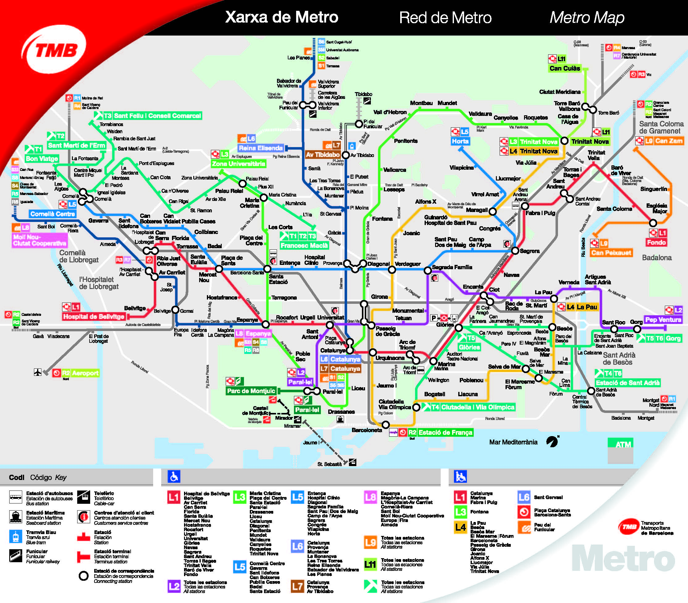 Barcelona City Maps - Metro, bus, train, airport & taxis Information Barcelona Map