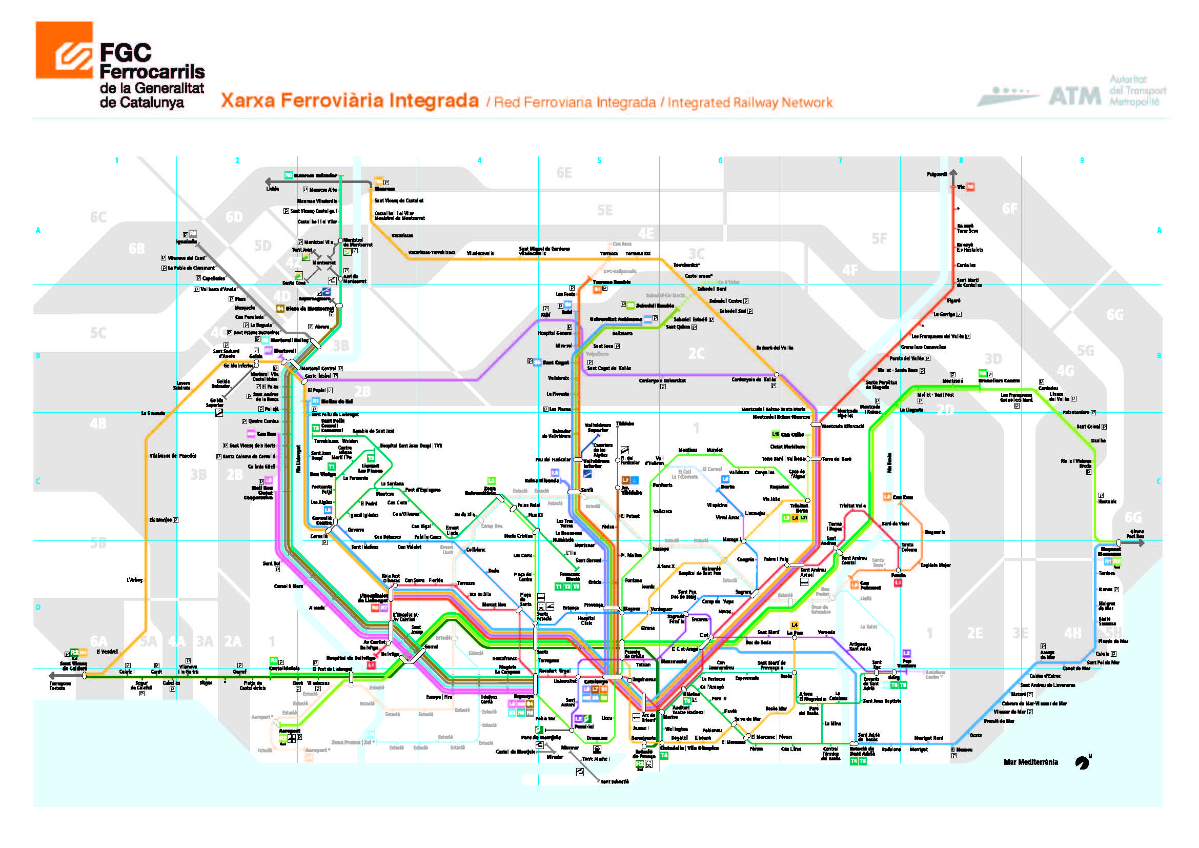 Barcelona City Maps Metro bus train airport and taxis Information – Train Travel In Spain Map