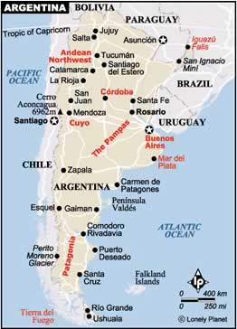Argentina Tourist Profile - Argentina travel map