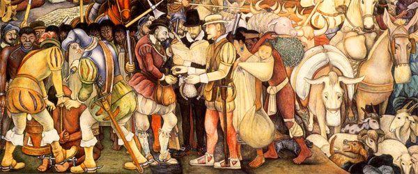 Diego Rivera: Scena della conquista del Messico