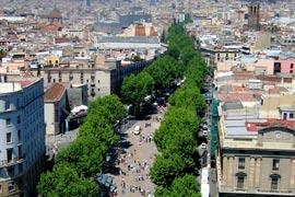 De drukke Las Ramblas in Barcelona