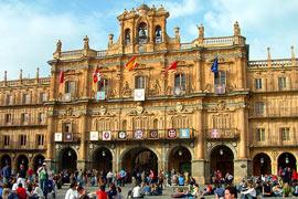 Het mooie Plaza Mayor is het centrum van Salamanca