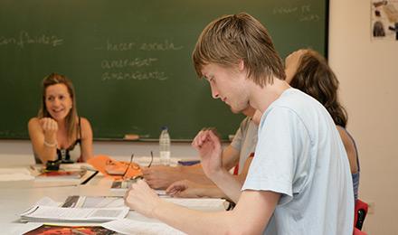 Het leslokaal in het gezellige Salamanca